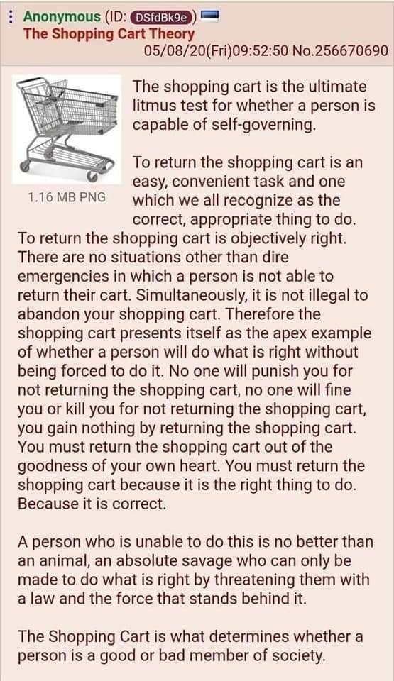 Memes Shopping cart morality test