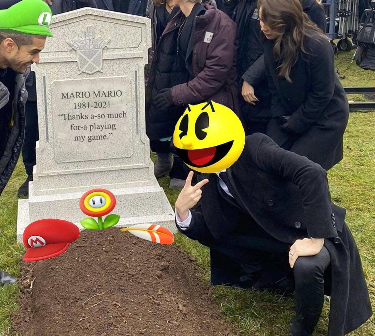 Memes Pac-Man happy that Mario is dead