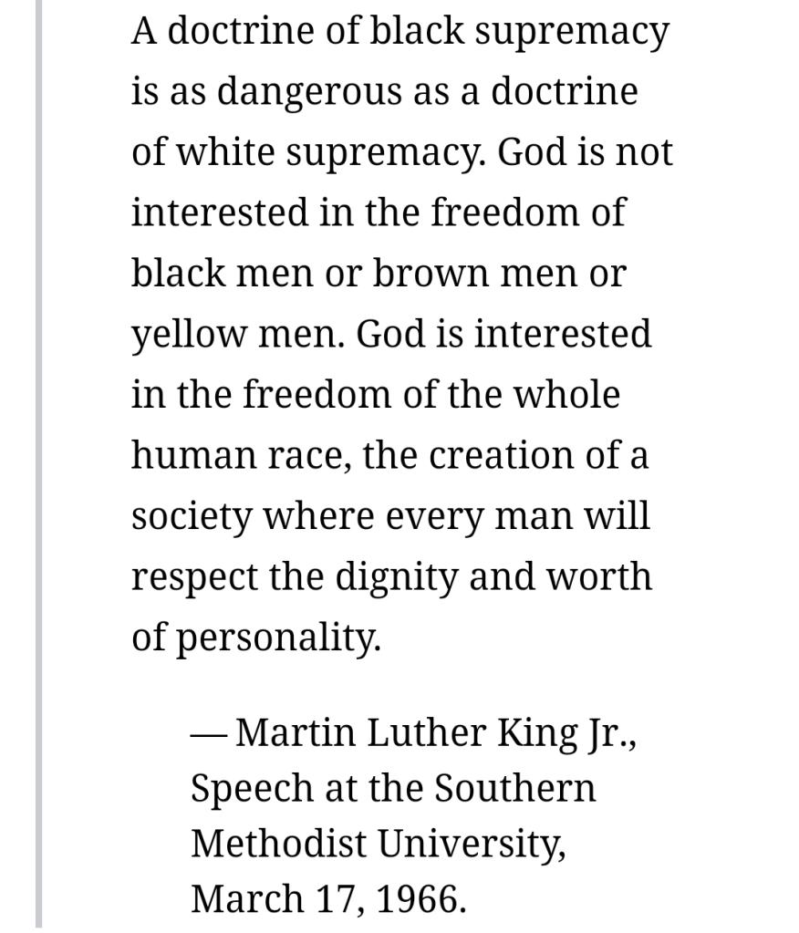 Martin Luther king Junior speaks of black supremacy