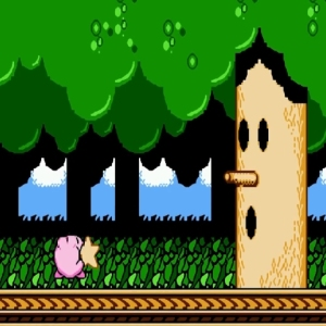 Kirby throws star at whispy Woods Kirby's Adventure NES Nintendo