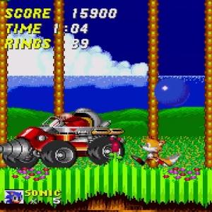Sonic and tails vs Dr robotnik drill Eggman Sonic the Hedgehog 2 Sega genesis Sega mega drive