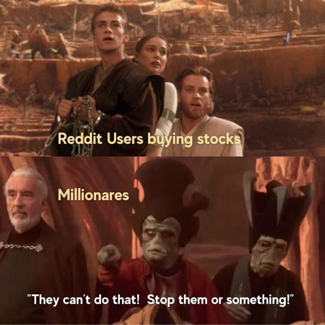 Memes Reddit users stock market