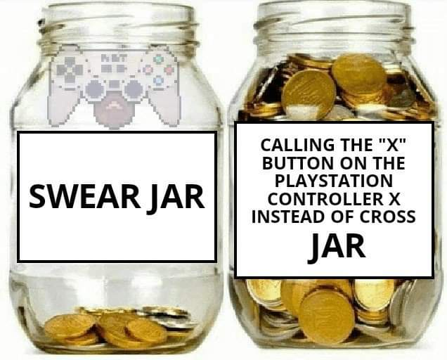 Memes X button on PlayStation controller