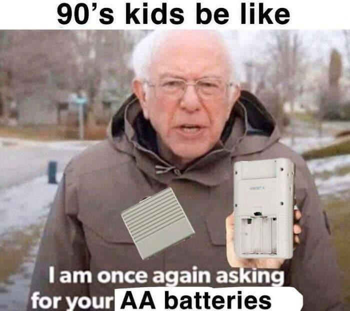 Memes Nintendo game boy original AAA batteries