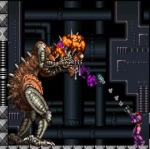 Samus shoots missile at mother brain second form super Metroid snes super Nintendo