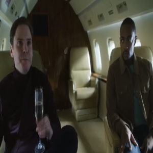 Sam Wilson and Baron zemo airplane the Falcon and the Winter Soldier Disney+ Anthony Mackie Daniel bruhl