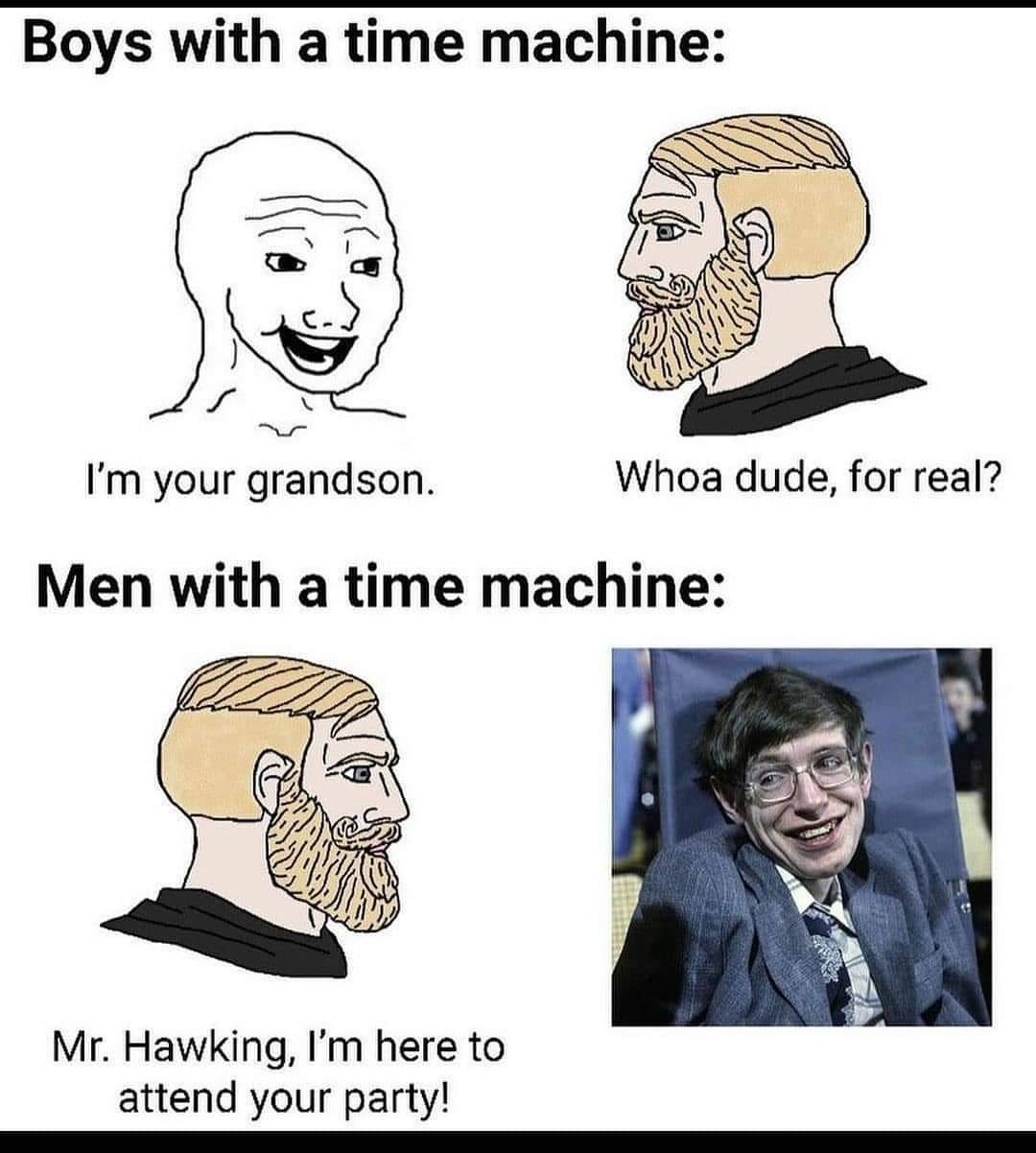 Memes Stephen Hawking time travel party
