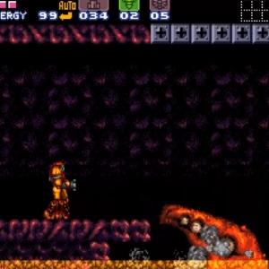 Super Metroid Crocomire falls into lava snes super Nintendo