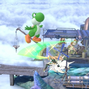 Mythra vs green yoshi super Smash Bros ultimate Nintendo Switch