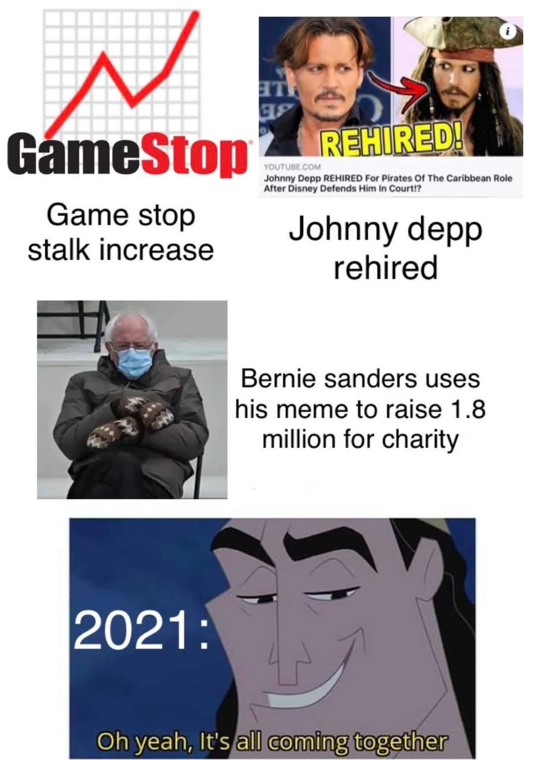 Memes GameStop Johnny Depp Bernie sanders