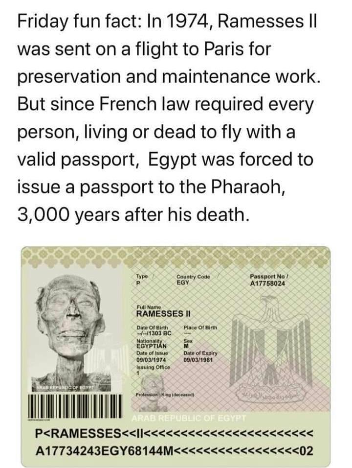 Memes Ramses the second passport Egypt France