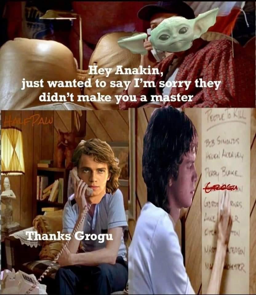 Memes Baby Yoda and Anakin Skywalker