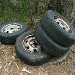 Old tires on ground