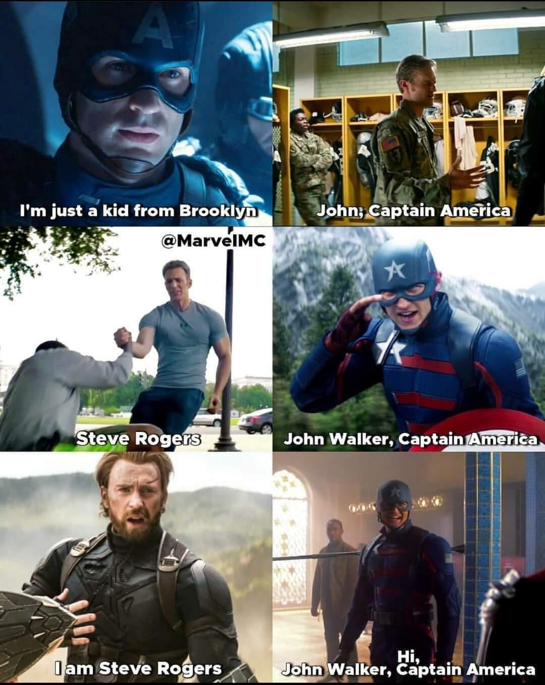 Memes Captain America Steve Rogers versus John Walker Marvel cinematic universe MCU