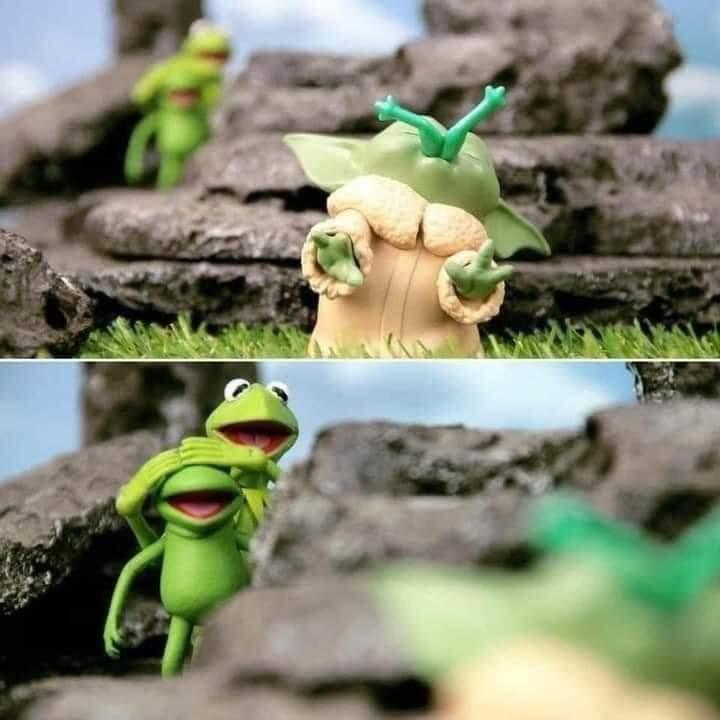 Memes Star Wars the Mandalorian baby Yoda eating frogs