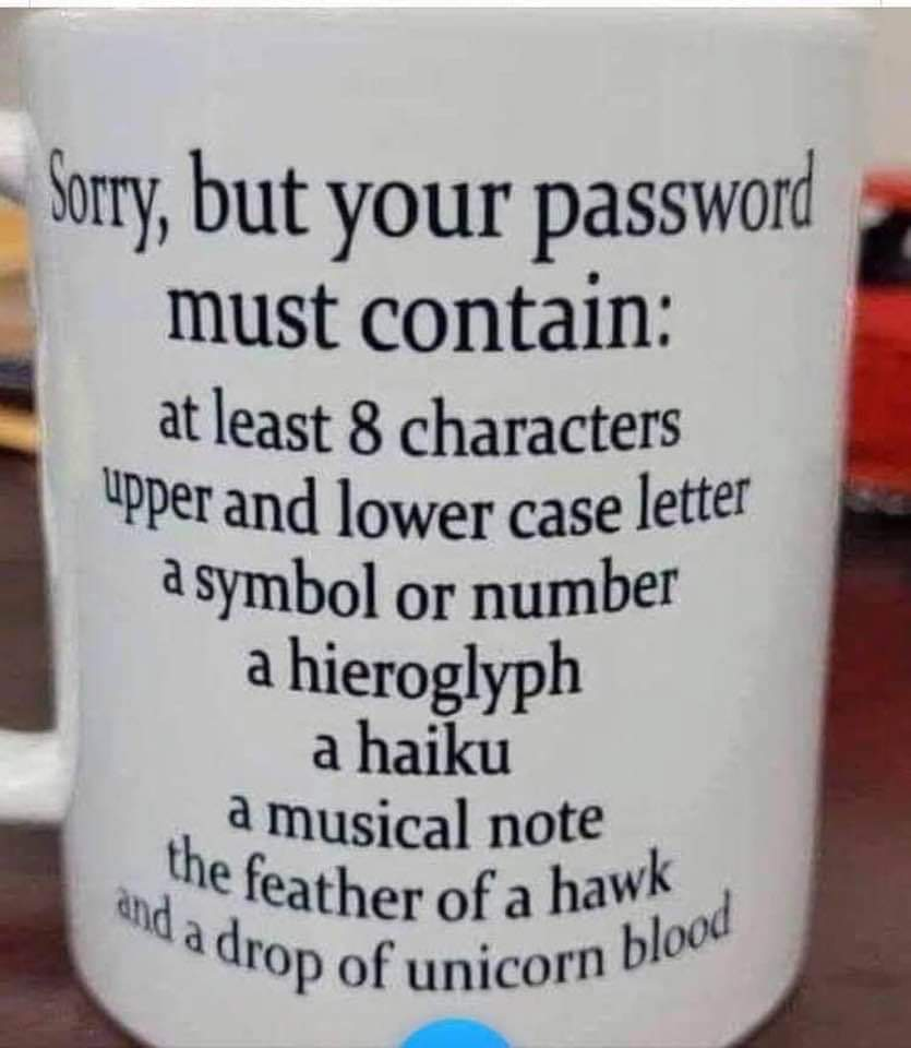 Memes Silly password requirements