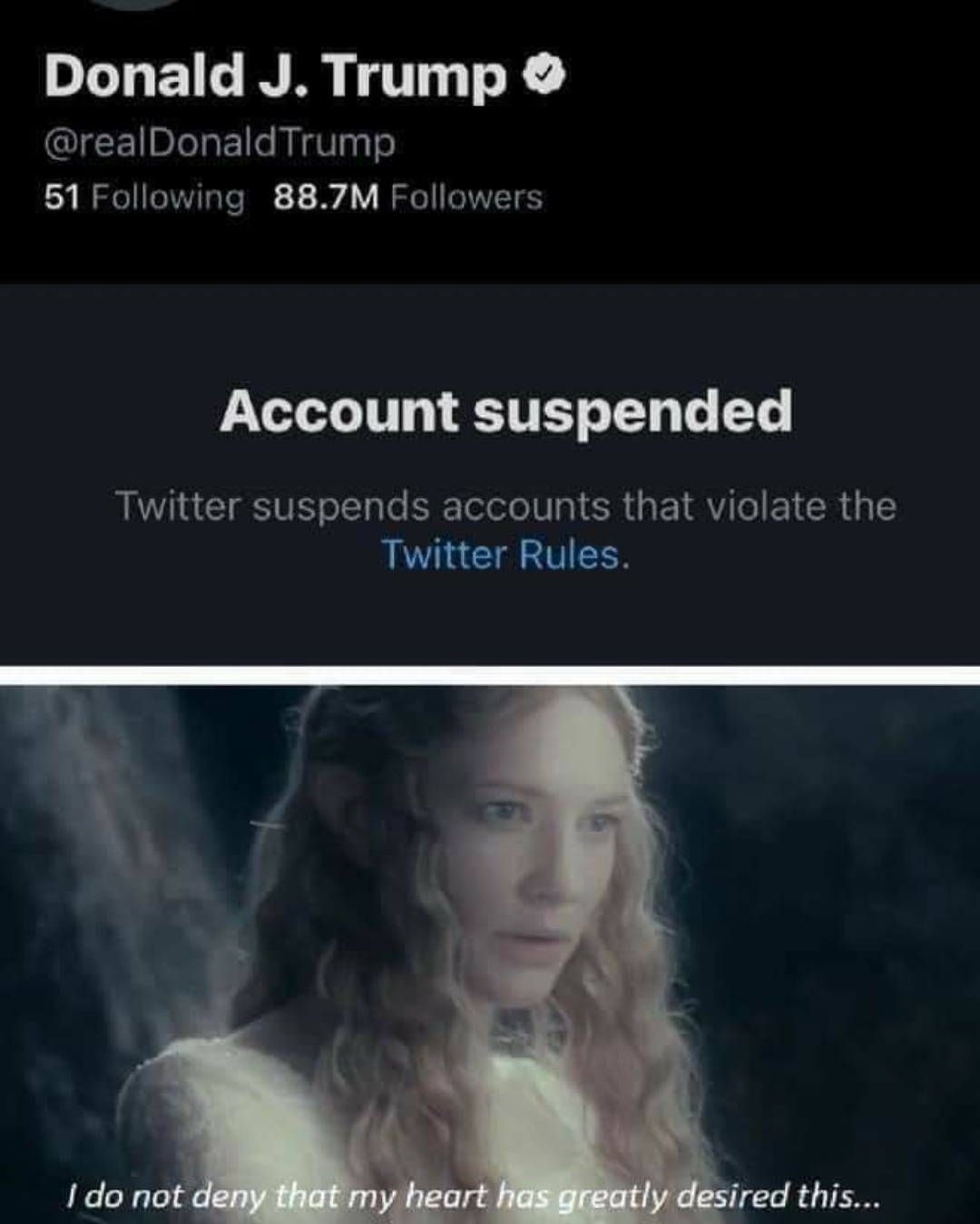 Memes Donald Trump suspended on Twitter