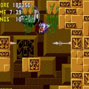 Sonic vs Dr robotnik Labyrinth Zone boss sonic the Hedgehog 1 Sega genesis Sega mega drive
