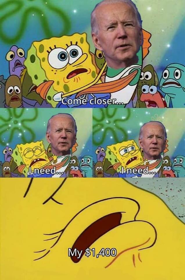 Memes President Joe Biden stimulus check SpongeBob SquarePants