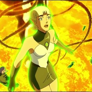 Arisia Rrab vs shadow creatures Green Lantern: Emerald Knights dc comics