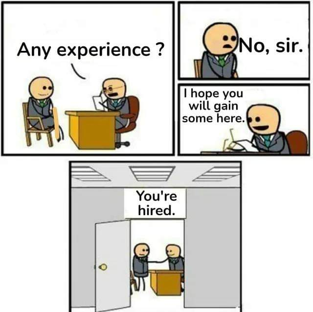 Memes Applying for a job with no experience