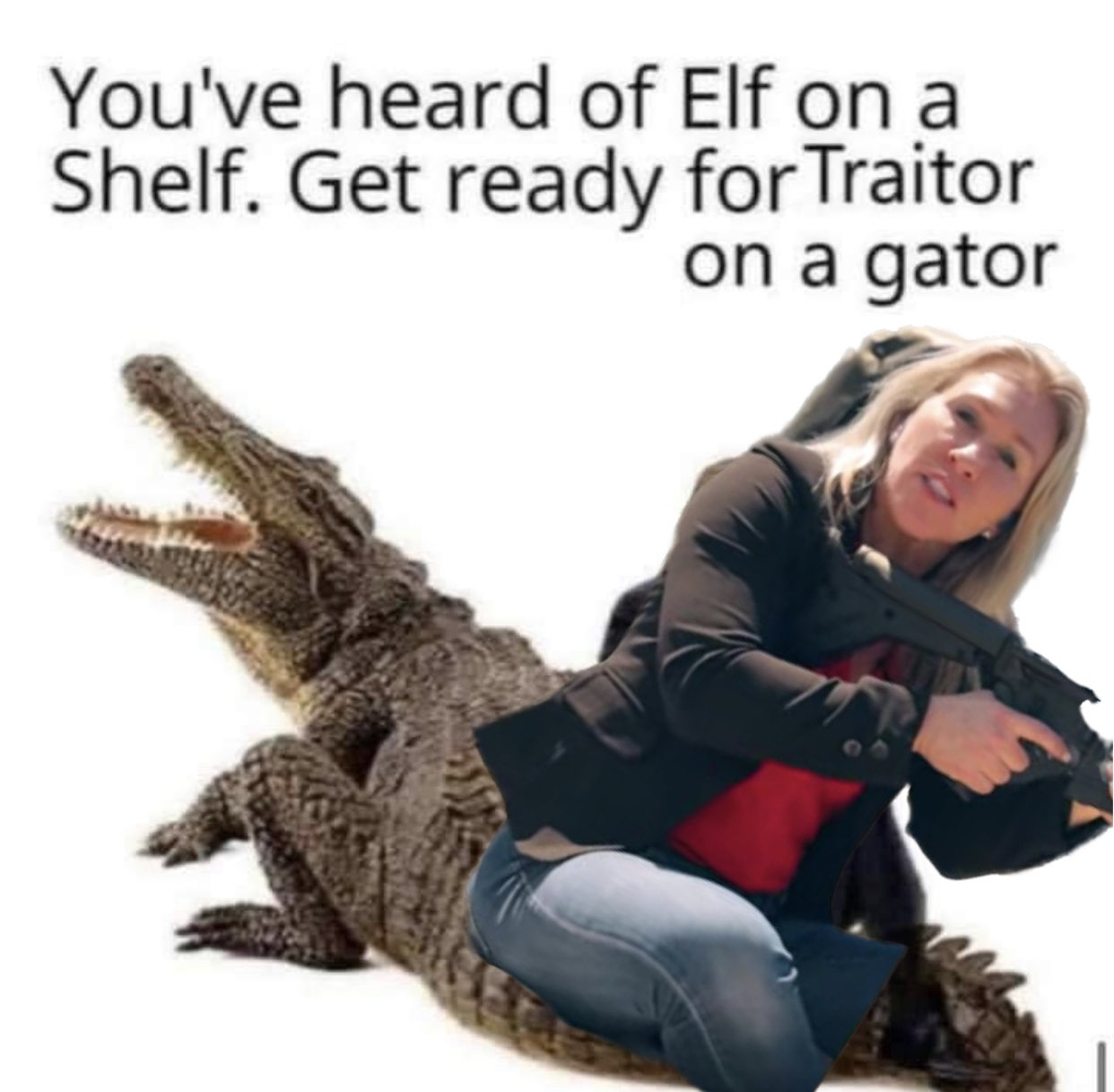 Memes Marjorie Taylor green traitor on a gator