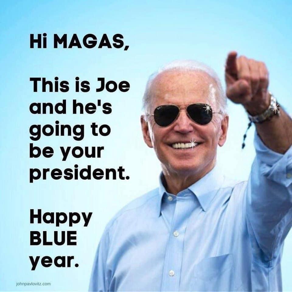 Memes Joe Biden happy blue year