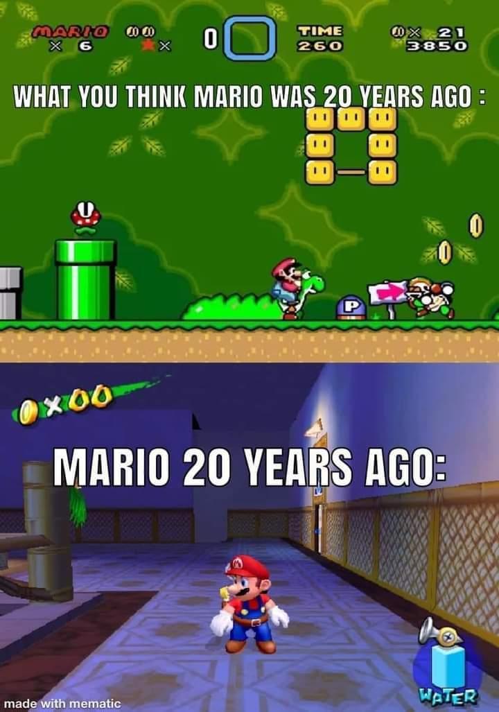 Memes Mario 20 years ago super Mario sunshine