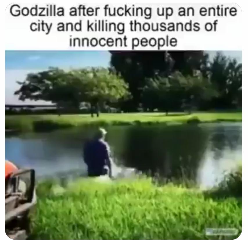 Memes Godzilla returning to the ocean