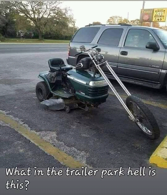 Meme lawn tractor turned into motorcycle