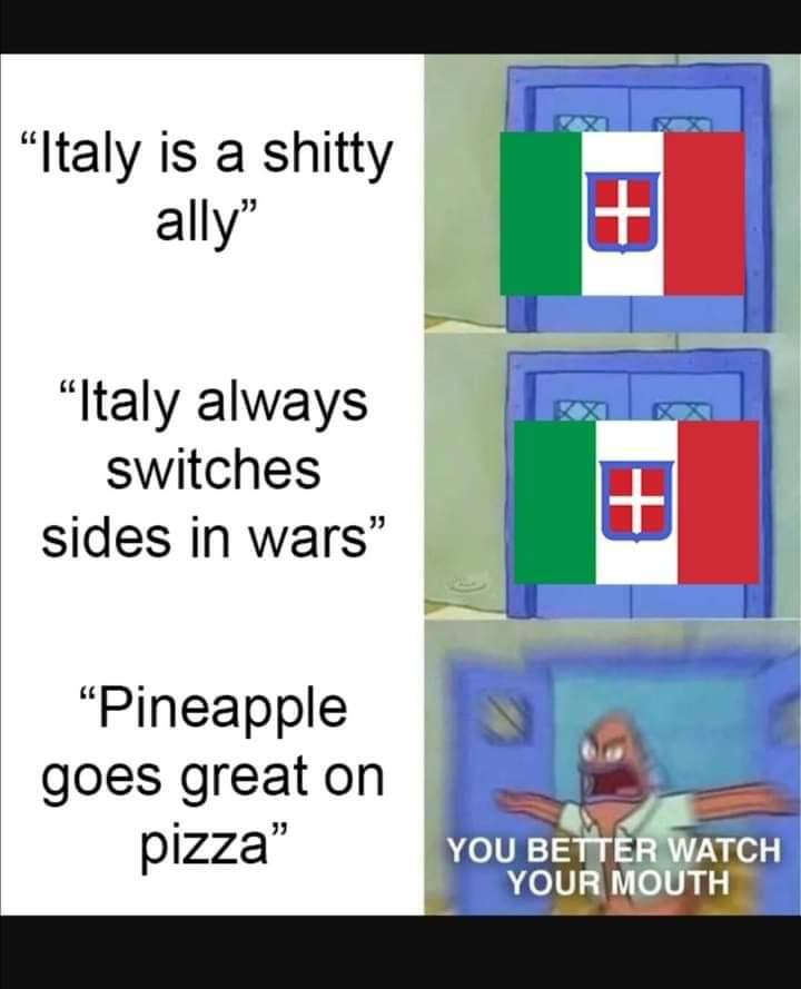 Memes Italy pineapple pizza