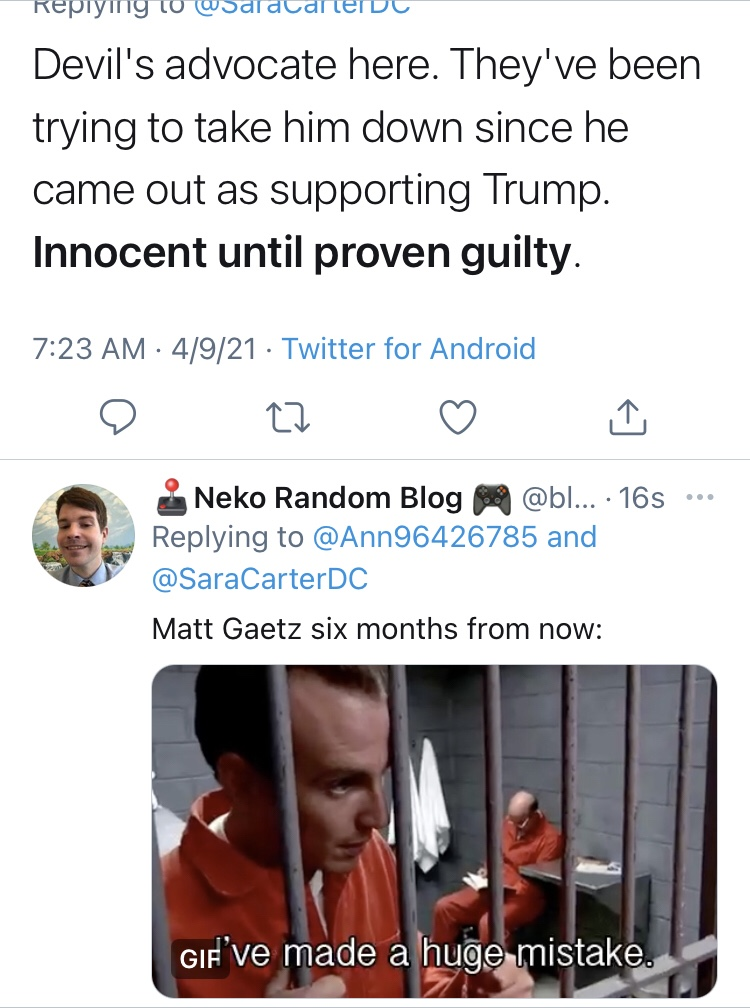 Memes Congressman Matt gaetz prison