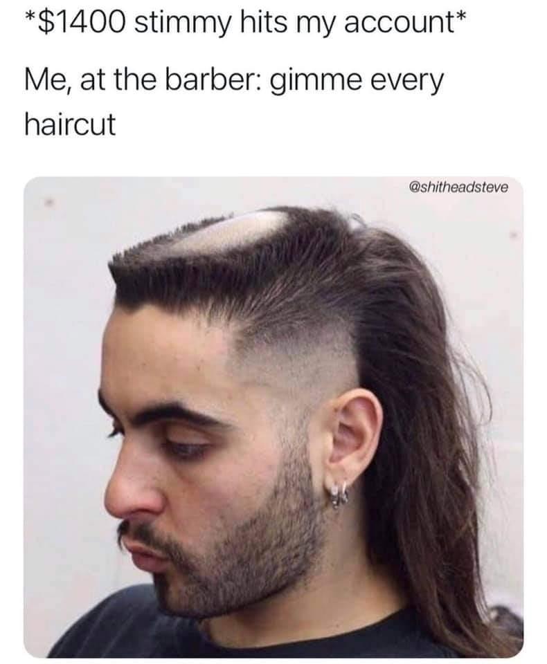 Memes $1400 stemless checks haircut
