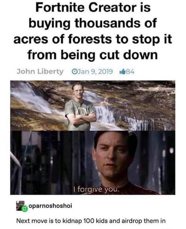 Memes Fortnite creator buying acres of forest