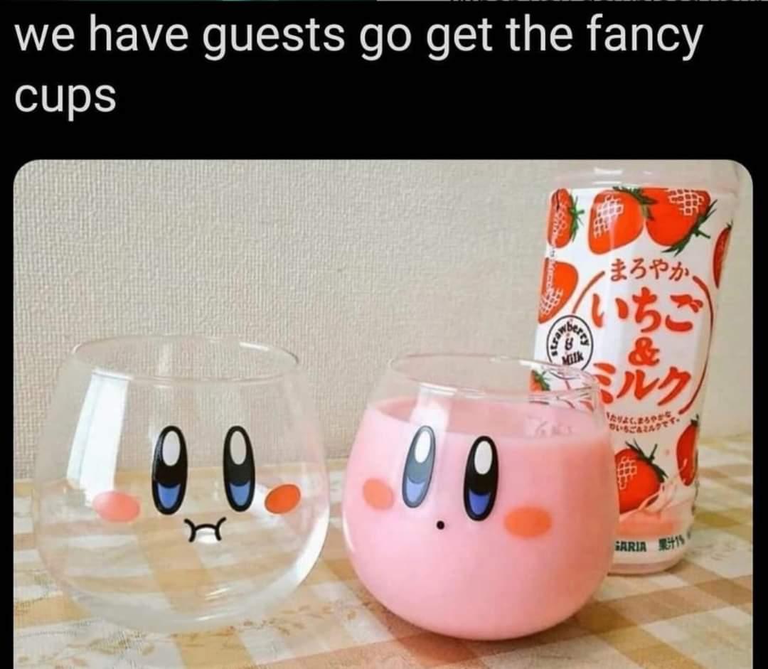 Memes Kirby glass cups Nintendo
