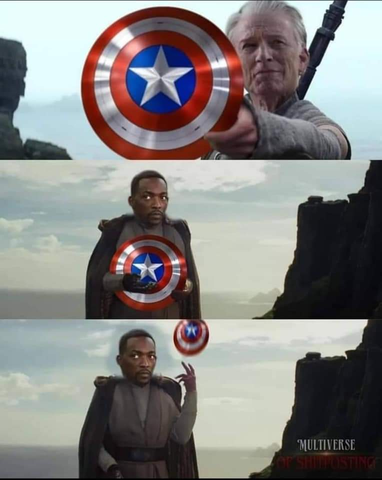 Memes Captain America shield falcon throws away