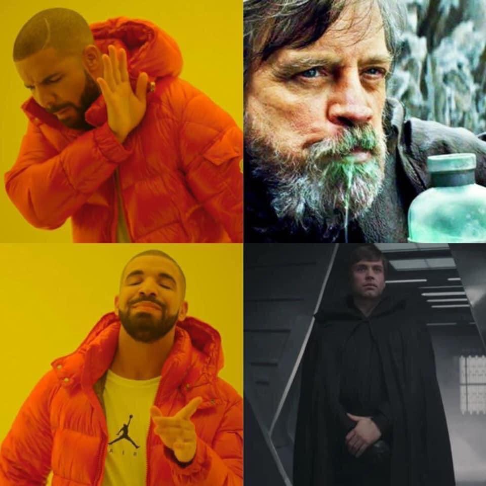 Memes The last Jedi versus the Mandalorian Luke skywalker