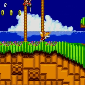 Tails running green hill zone Sonic the Hedgehog 2 Sega genesis Sega mega drive