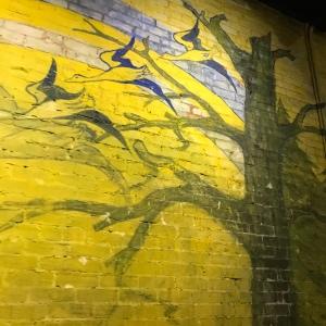 Biltmore House Halloween room artwork of birds on trees