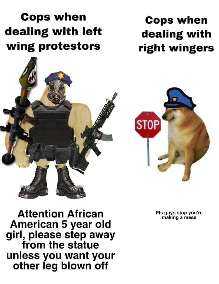 Memes Cops against right wing protesters