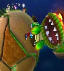 Super Mario Galaxy Dino piranha versus Mario Nintendo Wii