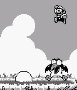 Mario vs big Bird super Mario Land 2 Nintendo Gameboy