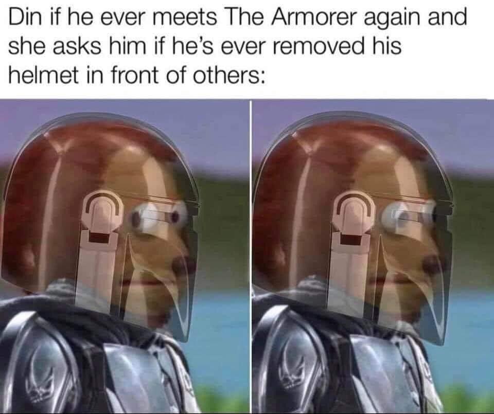 Memes Star Wars the Mandalorian taking in the helmet off