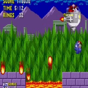 Sonic the Hedgehog 1 Marble Zone boss battle Sega genesis Sega mega drive