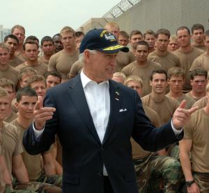 Joe Biden with US Navy troops