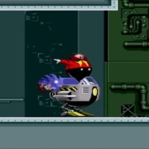 Dr robotnik running away Final Zone sonic the Hedgehog 1 Sega genesis Sega mega drive