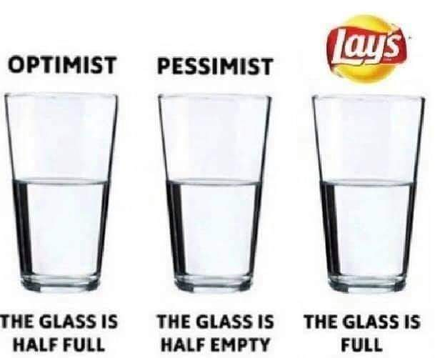 Memes Lays chips the glass is full