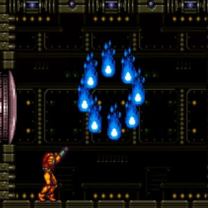 Super Metroid Phantoon blue fire snes super Metroid