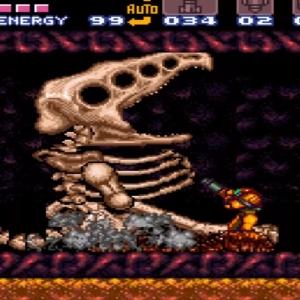 Super Metroid Crocomire skeleton VS Samus aran snes super Nintendo