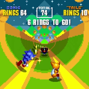 Sonic the Hedgehog 2 Special Stage Sonic and tails rings mines Sega genesis Sega mega drive